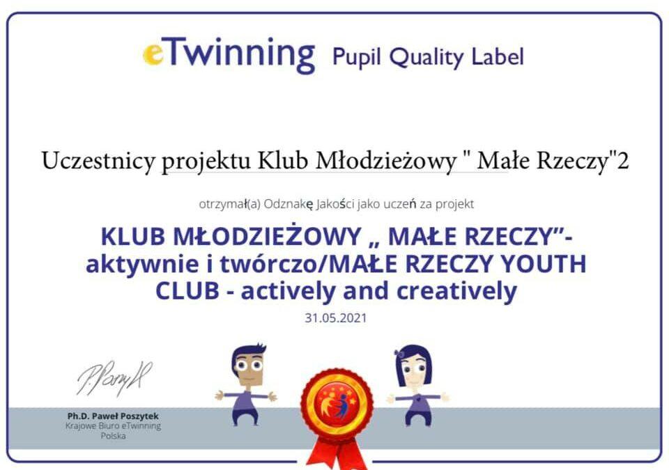 """Klub Młodzieżowy """"Małe Rzeczy"""" 2 wyróżniony!"""